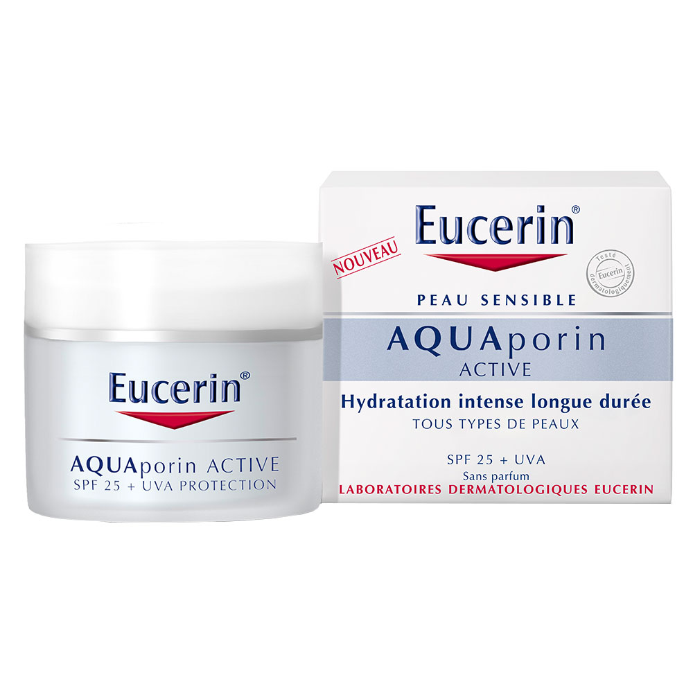 eucerin aquaporin active hydratation intense longue dur e tous types de peaux spf 25 uva. Black Bedroom Furniture Sets. Home Design Ideas