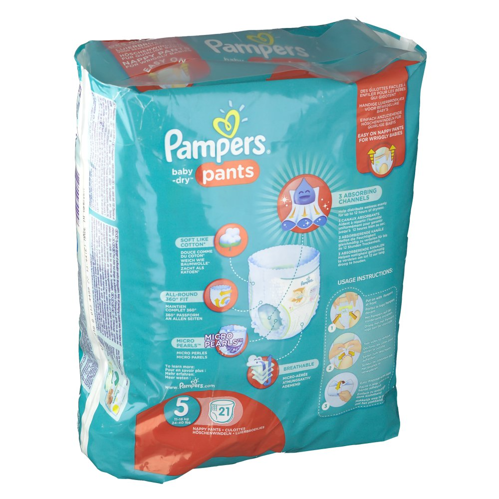 Pampers baby dry pants taille 5 12 17 kg couches culottes shop - Couches culottes pampers ...