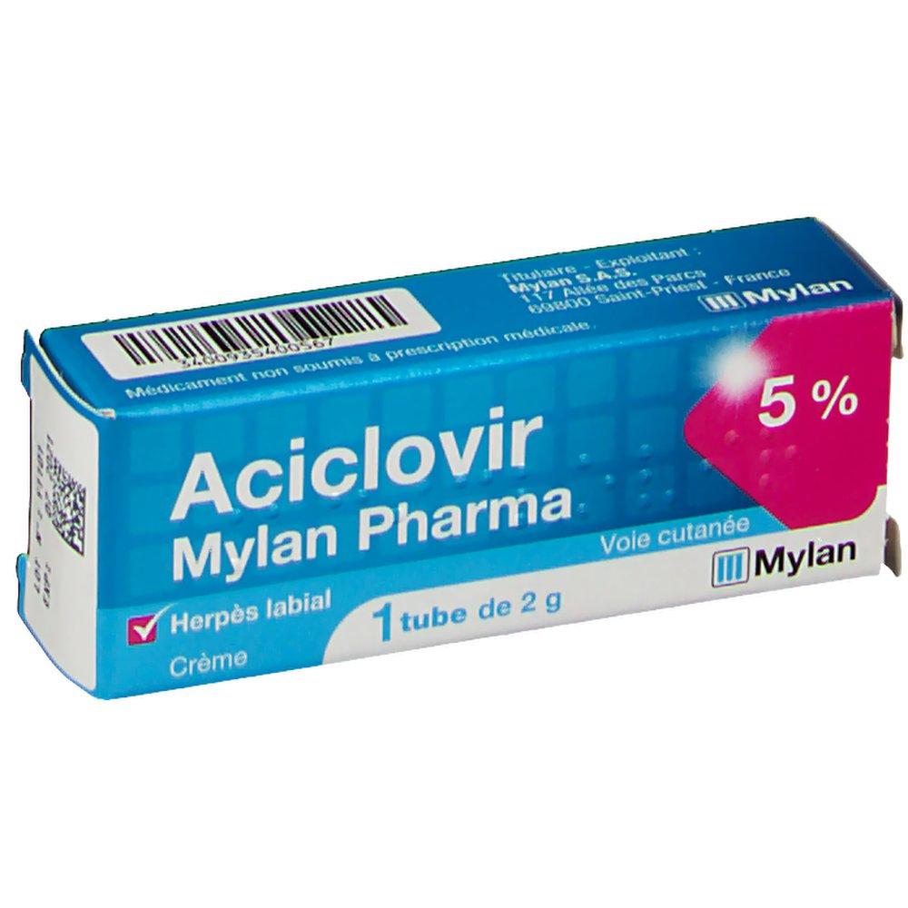 Aciclovir MYLAN Pharma tube crème 5 % - shop-pharmacie.fr